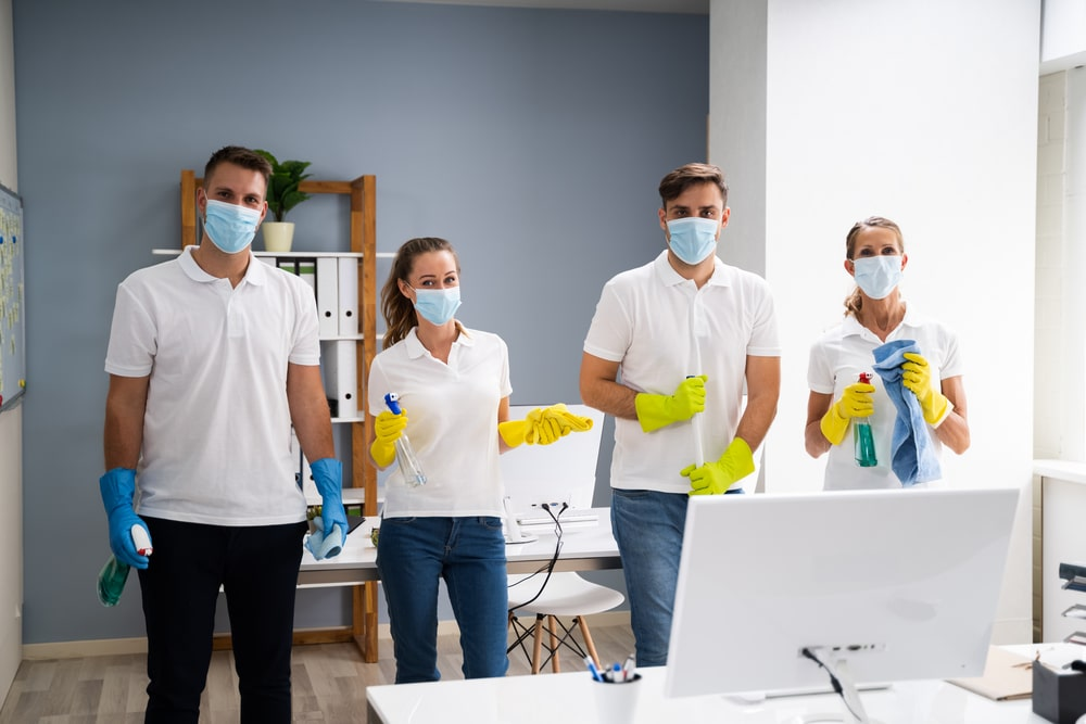 staff cleaning a commercial office